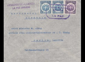 Bolivia/Bolivien: 1935: La Paz: Deutsche Gesandschaft - Legacion de Alemania