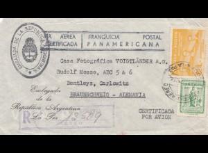 Bolivia/Bolivien: 1954 Embaiada de Argentina, registered to Braunschweig, La Paz