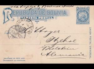 Bolivia/Bolivien: 1900: Post card to Itzehohe