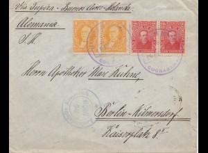 Bolivia/Bolivien: 1915: Cochabamba via Buenos Aires to Berlin, Censor Emmerich
