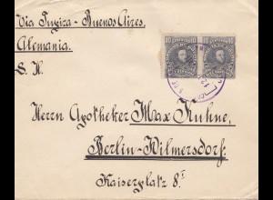 Bolivia/Bolivien: 1914 Cochabamba via Tupiza -Buenos Aires to Berlin Wilmersdorf