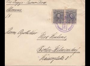 Bolivia/Bolivien: 1914 cover Cochabamba via Tupiza -Buenos Aires to Berlin