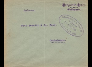 Bolivia/Bolivien: 1913 cover Santa Cruz to Cochabamba