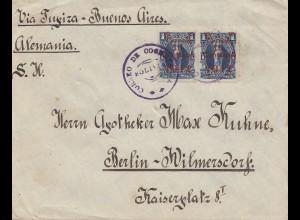 Bolivia/Bolivien: cover Cochabamba via Buenos Aires 1912 to Berlin