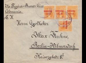 Bolivia/Bolivien: 1912 Cochabamba via Buenos Aires to Berlin in Germany