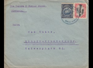 Bolivien: 1921 cover Cochabamba via Buenos Aires to Berlin/Germany