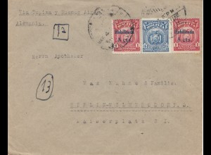 Bolivia/Bolivien: 1925 cover Cochabamba via Buenos Aires to Berlin/Germany