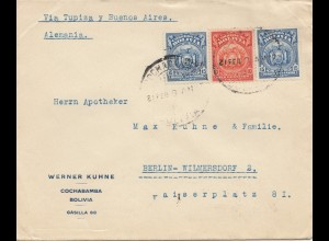 Bolivia/Bolivien: 1927 cover Cochabamba via Buenos Aires to Berlin/Germany