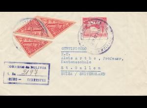 Bolivia/Bolivien: 1953: Registered La Paz to St. Gallen/Switzerland