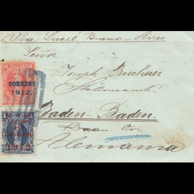 Bolivia/Bolivien: 1912: Cover via Sucre and Buenos-Aires to Baden-Baden