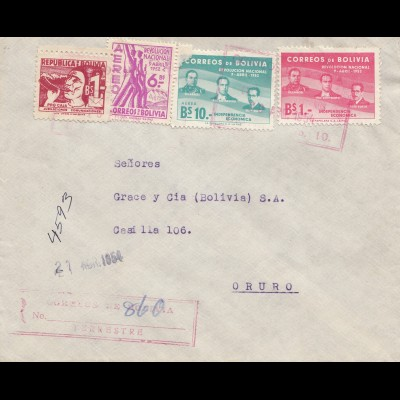 Bolivia/Bolivien: 1954: Registered cover to Oruro