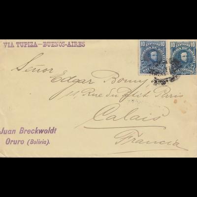 Bolivia/Bolivien: 1904: Oruro to Calais/France via Tupiza