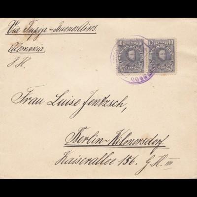 Bolivia/Bolivien 1914: Cochabamba via Buenos Aires to Berlin/Germany
