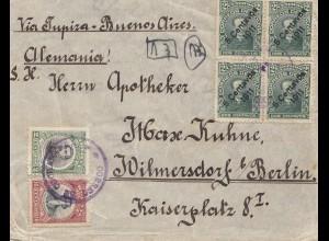 Bolivia/Bolivien: 1911 cover Cochabamba via Buenos Aires to Berlin/Germany