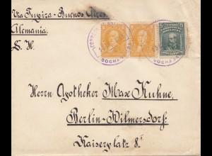 Bolivia/Bolivien: 1913 Cochabamba via Buenos Aires to Berlin Wilmersdorf