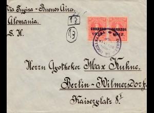 Bolivia/Bolivien: 1912 Cochabamba via Buenos Aires to Berlin