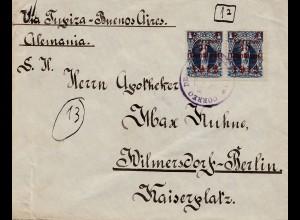Bolivien: Cochabamba via Buenos Aires 1912 to Berlin/Germany