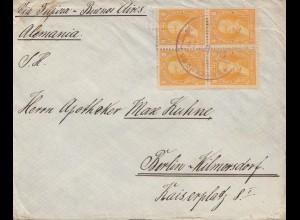 Bolivia/Bolivien: cover Cochabamba via Buenos Aires to Berlin 1915