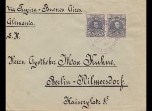 Bolivia/Bolivien: 1913: cover Cochabamba via Buenos Aires to Berlin/Germany