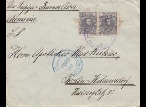 Bolivia/Bolivien: 1915 Cochabamba via Buenos Aires to Berlin
