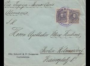 Bolivia/Bolivien: 1914 cover Cochabamba via Buenos Aires to Berlin