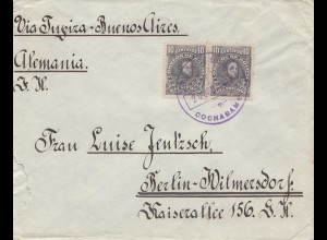 Bolivia/Bolivien: 1914 cover Cochabamba via Buenos Aires to Berlin Wilmersdorf