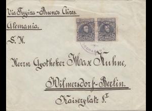 Bolivia/Bolivien: 1913: Cochabamba to Berlin