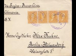 Bolivia/Bolivien 1914: cover Cochabamba via Buenos Aires to Berlin