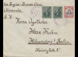 Bolivia/Bolivien: cover Cochabamba 1912 via Buenos Aires to Berlin