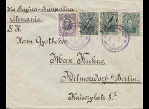 Bolivia/Bolivien: 1912 cover Cochabamba via Buenos Aires to Berlin Wilmersdorf