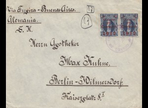 Bolivia/Bolivien: 1912 Cochabamba via Buenos Aires to Berlin Wilmersdorf