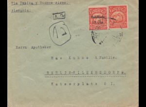 Bolivia 1925 cover Cochabamba via Buenos Aires to Berlin/Germany