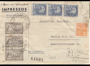 Brazil: 1938: Seccao Rio Tarde, registered front page to Berlin