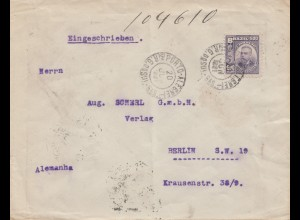 Brazil: 1921: Porto Alegre to Berlin, registered, see backside