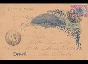 Brazil: 1899: post card to Sao Paolo
