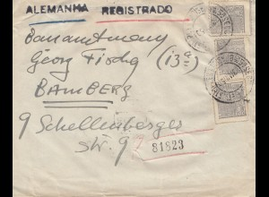 Brazil: 1950: Registered cover to Bamberg, Germany