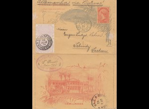 Brazil: 1891: post card to Sebnitz/Sachsen via Lisboa