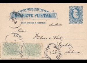Brazil: 1894: Bilhete Postal- post card to Teplitz/Germany