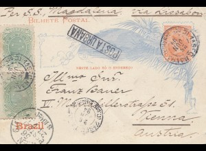 Brazil: 1894: Bilhete Postal- post card to Vienna/Austria