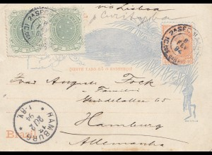 Brazil: 1894: Bilhete Postal- post card to Hamburg