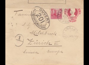Brazil: 1916: Cover Itanhaen - S. Paolo to Zürich/Switzerland - Censor