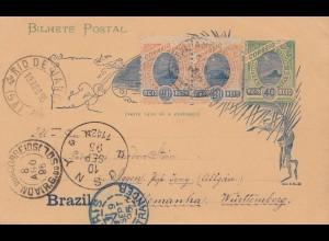 Brazil: 1895: post card Rio de Janeiro to Isny