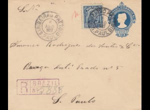 Brazil: 1907: Ribeirau Preto to Sao Paolo, registered