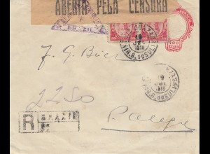 Brazil: 1918: Registered cover, consor