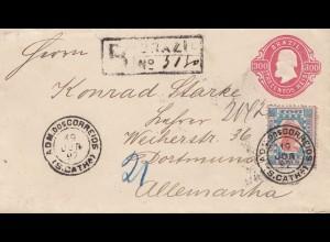 Brazil: 1892: Adm dos Correios, registered letter to Dortmund