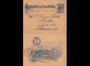 Brazil: 1900: Barta Bilhete - Carte Lettre to Gmünden Germany