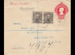 Brazil: 1917: Balu to London - per s/s Dryden