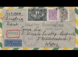 Brazil: 1947: Registered cover to Wien/Austria, Austrian censor