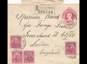 Brazil: 1916: Registered Rio de Janeiro to London