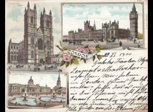 England: Postcard 1900 London to Switzerland
